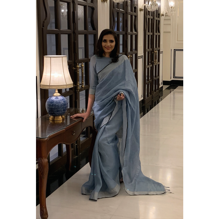 Swedish Blue Linen Saree