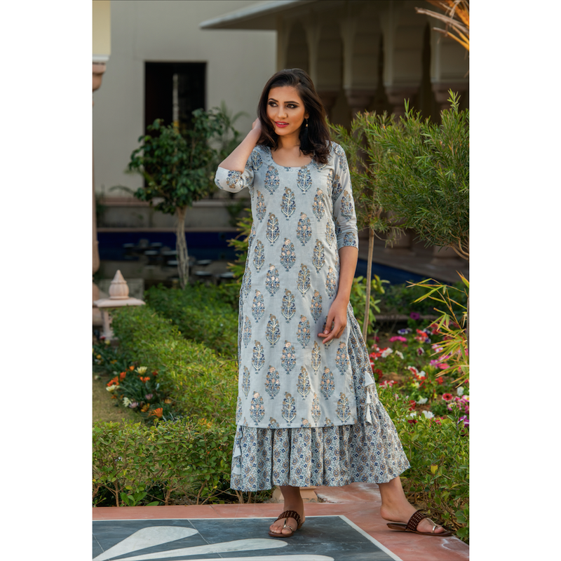 Grey Double Layered Printed Dress With Embroidery