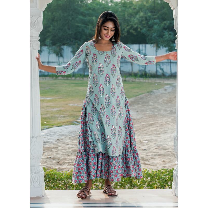 Green Double Layered Printed Dress With Embroidery