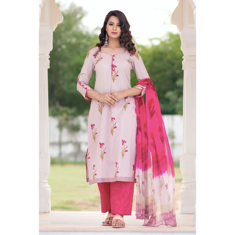 Mauve Pink Block Printed Suit Set