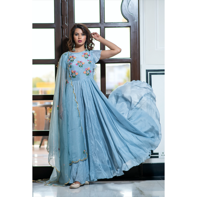 Blue Grey Hand Embroidered Dress With Organza Dupatta