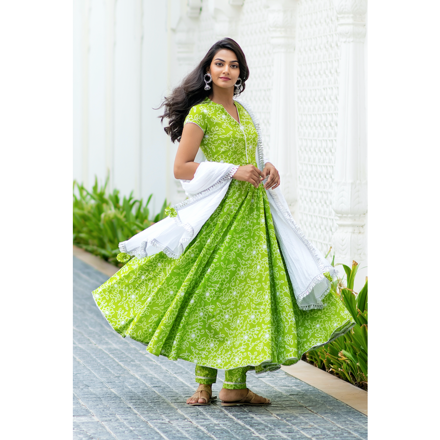 Bright Green Bandhani Suit Set