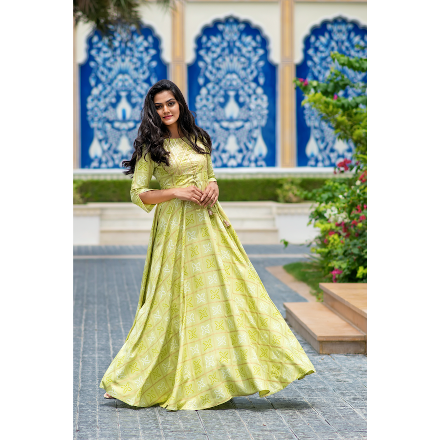 Lime Green Bandhej Gota Dress