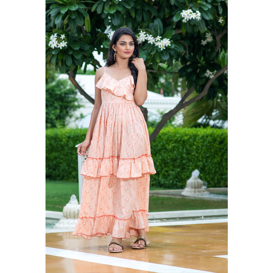 Blush Ruffle Maxi Dress