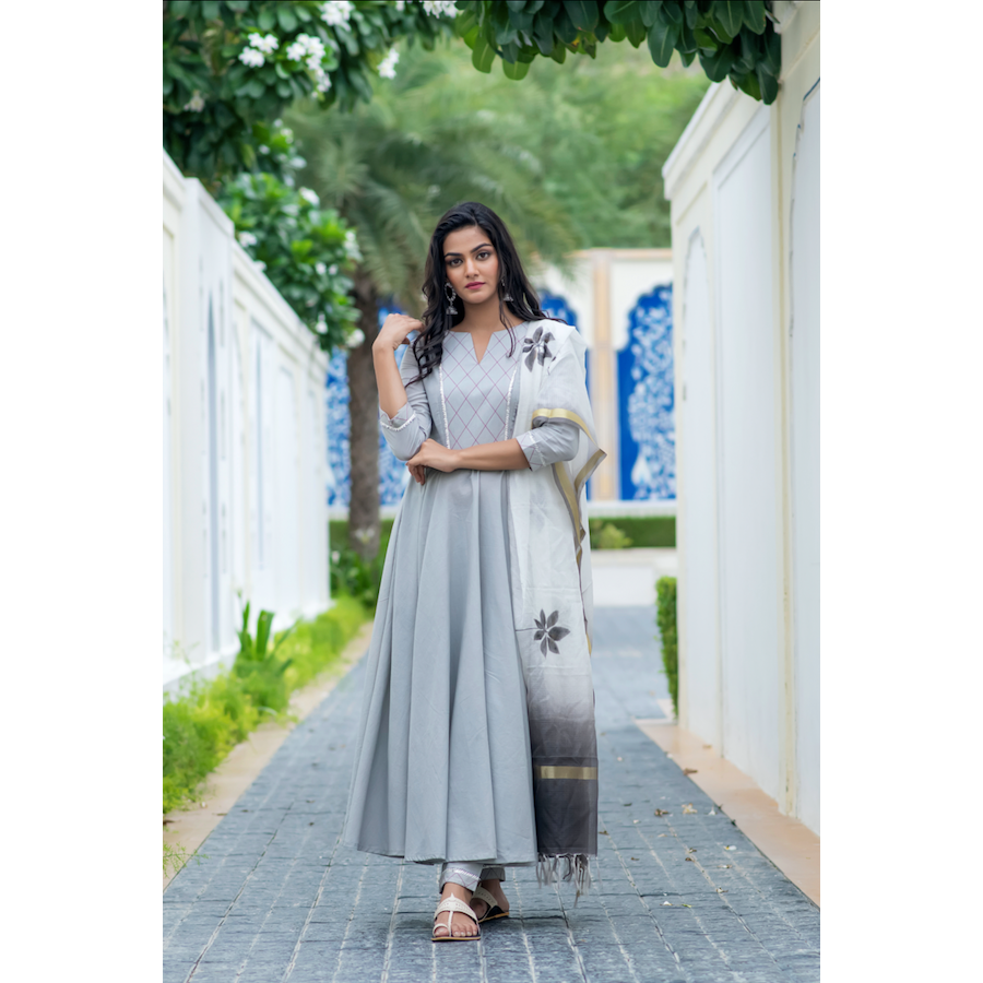 Grey Kurta Set With Hand Painted Dupatta