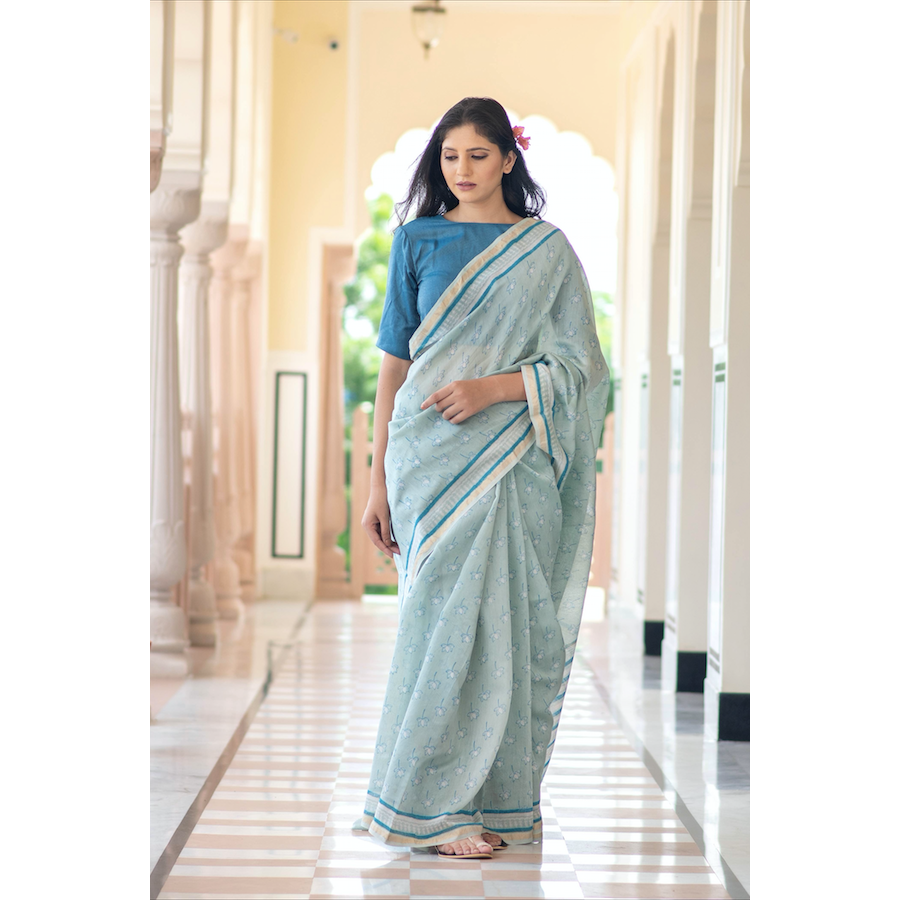 Cadet Blue Chanderi Sari In Lotus Print