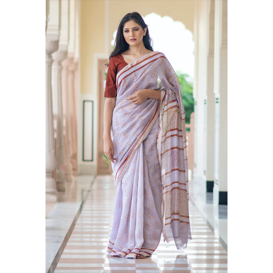 Wisteria Block Printed Chanderi Saree