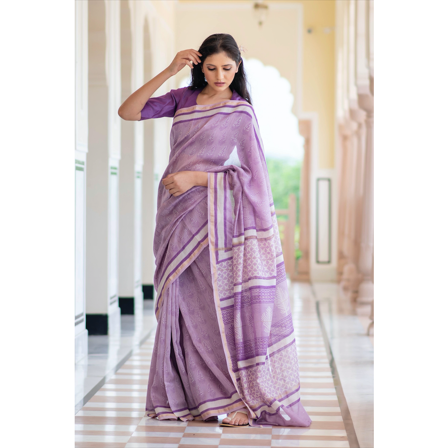 Purple Block Printed Chanderi Saree