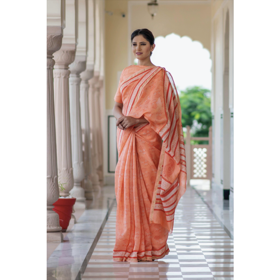 Peach Block Printed Chanderi Sari