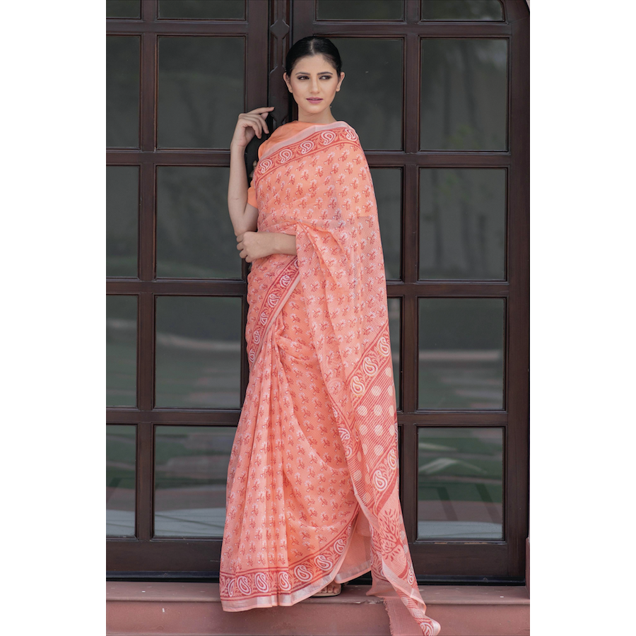 Kota Doriya Block Printed Saree In Peach