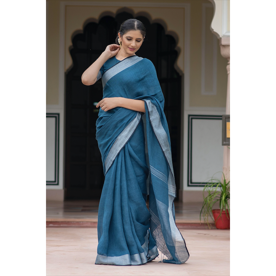 Oxford Blue Linen Saree