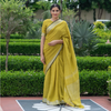 Pear Yellow Linen Saree