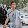 Grey Block Printed Linen Saree