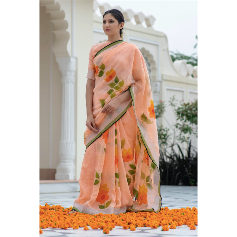 Peach Hand Painted Linen Saree