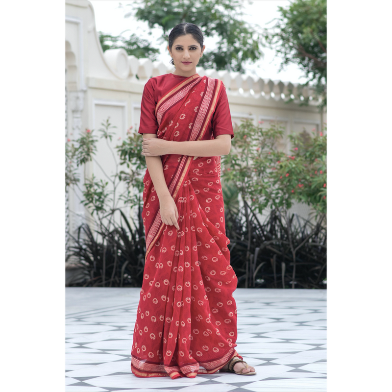 Red Block Printed Chanderi Sari