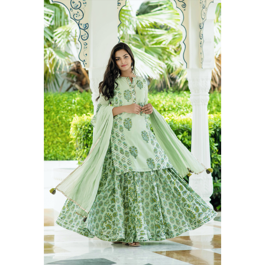 Green Kali Lehnga Set