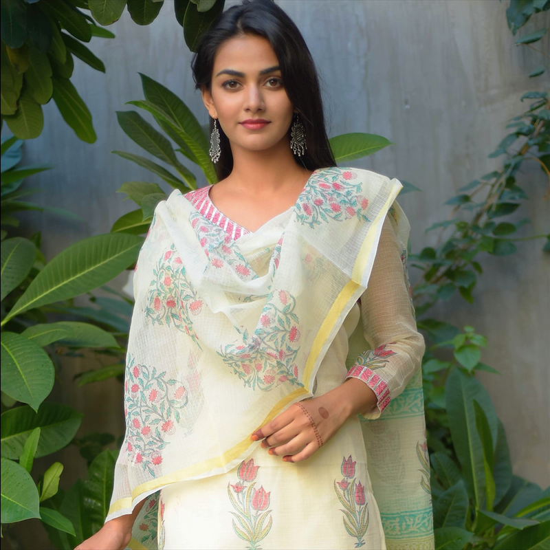 Ivory Block Printed Kota Doriya Suit Set