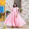 Pink Bandhej Gota Dress