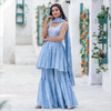 Blue Bandhani Embroidered Sharara Set