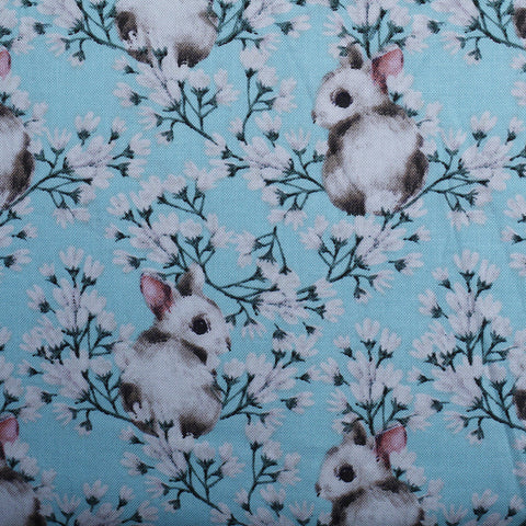 Spring Bunnies Cotton Blue