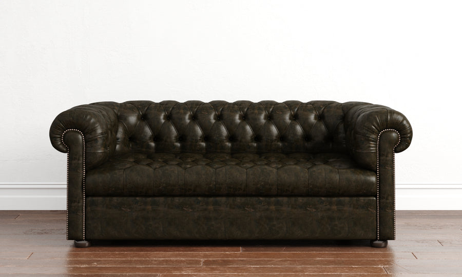 Chesterfield Couch - Buttoned Base