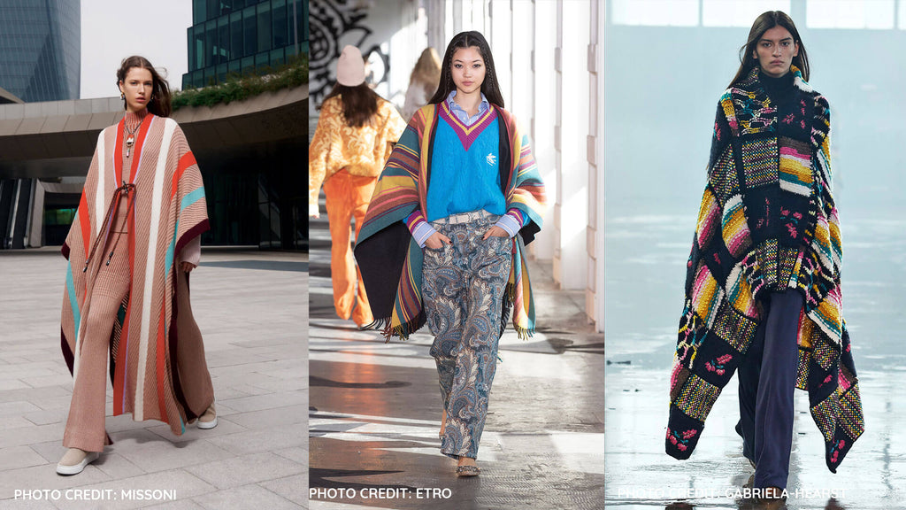 Fall Winter 2021/22: The Poncho - Colorful ponchos seen in Missoni, Etro and Gabriela Heist runways