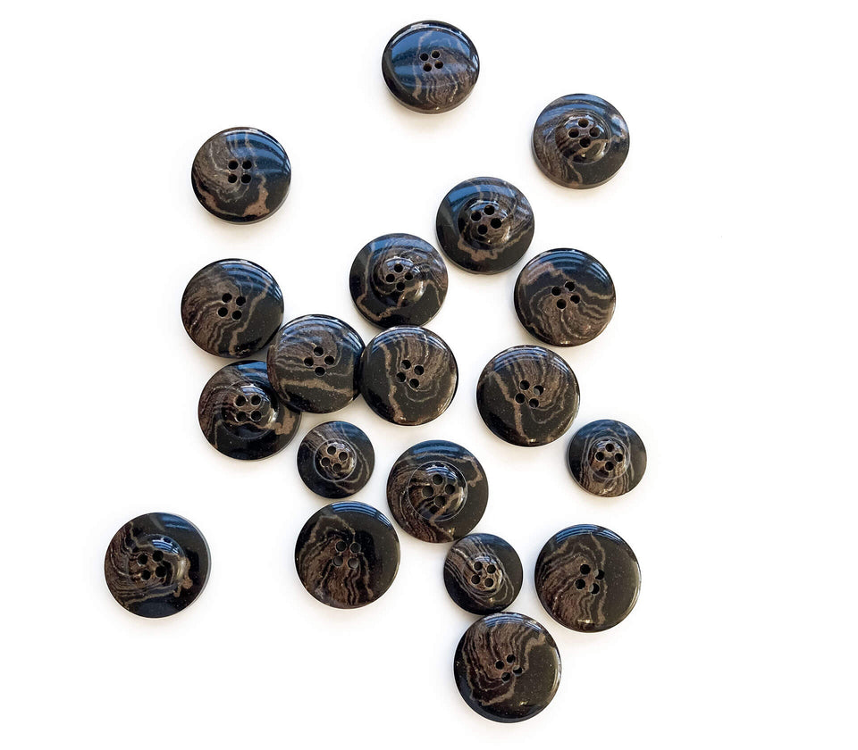 Coffee Ground Recycled Buttons - Textile Garden