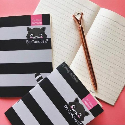 Be Curious Racoon Notebook - Tisora Designs