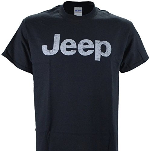 Jeep Distressed Logo on a Black T Shirt, Black