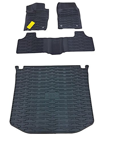 Rubber Slush Floor Mats & Cargo Tray Liner Set for Jeep Grand Cherokee