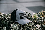 DURO threads Gray Heather Patch USA Flag Distressed Cap S/M
