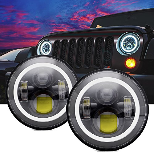 DOT Approved 7'' Round Black LED Headlight with High Low Beam White DRL Amber Turn Signal