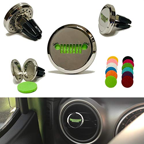Essential Oil Diffuser Vent Clip Your Jeep Wrangler, Grill Eyelashes Design, 30mm Stainless Steel Air Freshener Vent Clip Locket Magnetic Closure, 12 Pieces Replacement Felt Pad JL