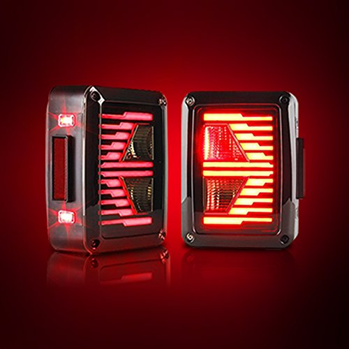 Rear Smoked E-Type Lens 7 Series Tail Lights Turn Signal LED Lamps For Jeep Wrangler JK 2007-2017 2pcs