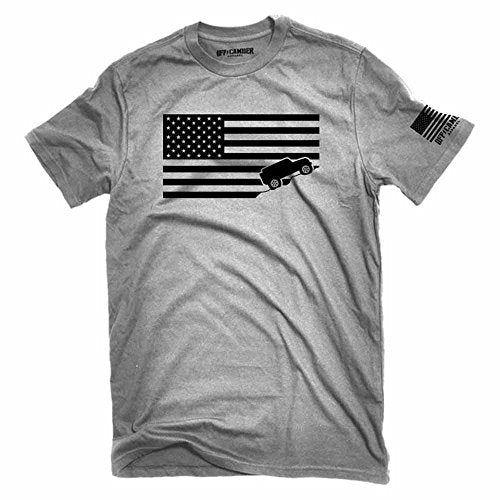 Off-Camber Apparel American Flag Jeep Shirt Ash Gray Made In USA Offroad t-Shirt (Small)