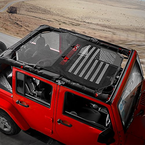 RT-TCZ Jeep Wrangler US Flag Durable Polyester Mesh Shade Top Cover Provides UV Sun Protection for Your 4-Door JK or JKU (2007-2017) Original Black And White