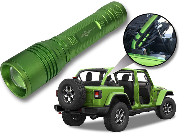 Jeep Wrangler Accessories Mojito Colored LED Flashlight with Roll Bar Holster. Holster fits Jeep Jk rollbar also. Color match is for 2018-2019 Jeep JL Accessories, Ultra Bright, 1000 Lumens, Zoomable
