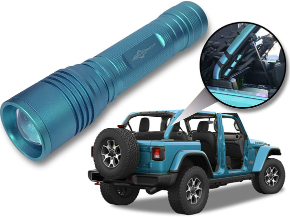 Jeep Wrangler Accessories Bikini Colored LED Flashlight with Roll Bar Holster. Holster fits Jeep Jk rollbar also. Color match is for 2018-2019 Jeep JL Accessories, Ultra Bright, 1000 Lumens, Zoomable.
