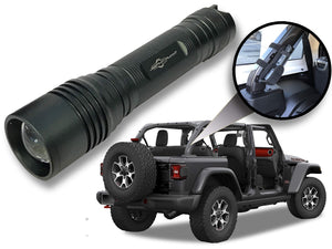 Jeep Wrangler Accessories Granite Crystal Colored LED Flashlight with Roll Bar Holster. Holster fits Jeep Jk rollbar also. Color match is for 2018-2019 Jeep JL Accessories, Ultra Bright, 1000 Lumens