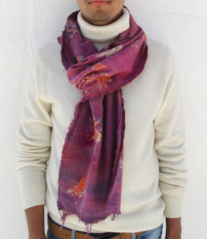 Garden Hand-painted Scarf | Purple