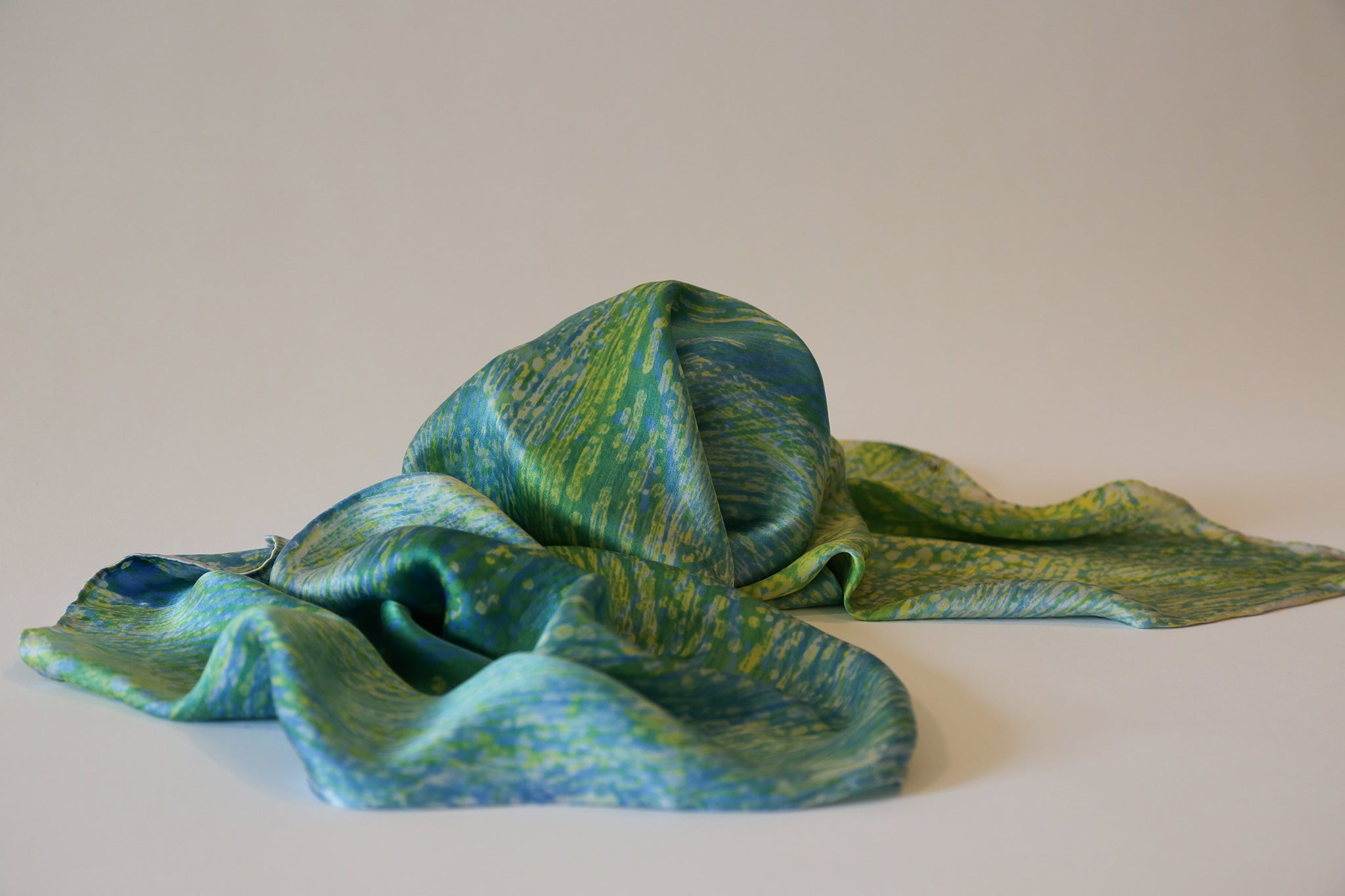 Verde Satin Scarf in Greens and Blues