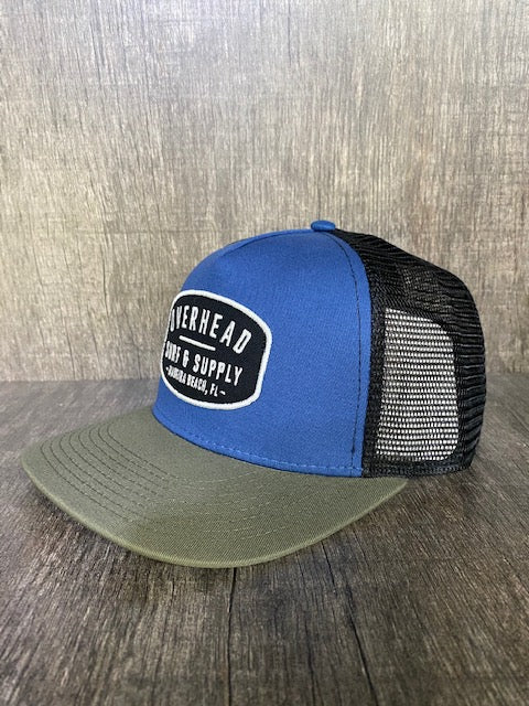 Surf and Supply Trucker Hat in Navy/Army Green