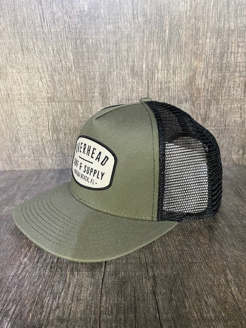 Surf and Supply Trucker Hat in Army Green/Black