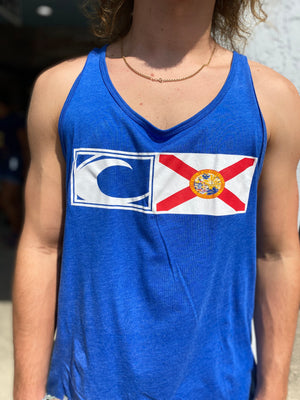 New Logo Florida Flag Tank in Heather Blue