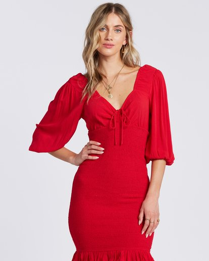 Amalfi Nights Dress in Ruby
