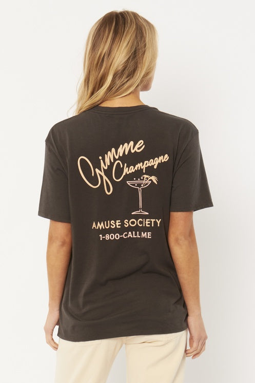 Gimme Champagne Tee in Charcoal