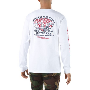 Checkerboard World Long Sleeve Tee in White