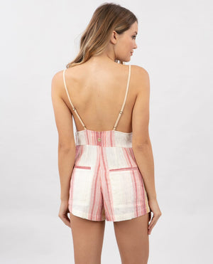 Golden Days Stripe Romper in Bone