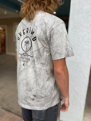Palm Logo Tee in Smoke Tie Dye