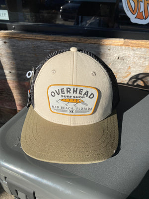 Lure Trucker Hat in Sand/Olive Green